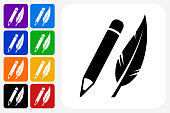Pencil and Feather Icon Square Button Set. The icon is in black on a white square with rounded corners. The are eight alternative button options on the left in purple, blue, navy, green, orange, yellow, black and red colors. The icon is in white against these vibrant backgrounds. The illustration is flat and will work well both online and in print.