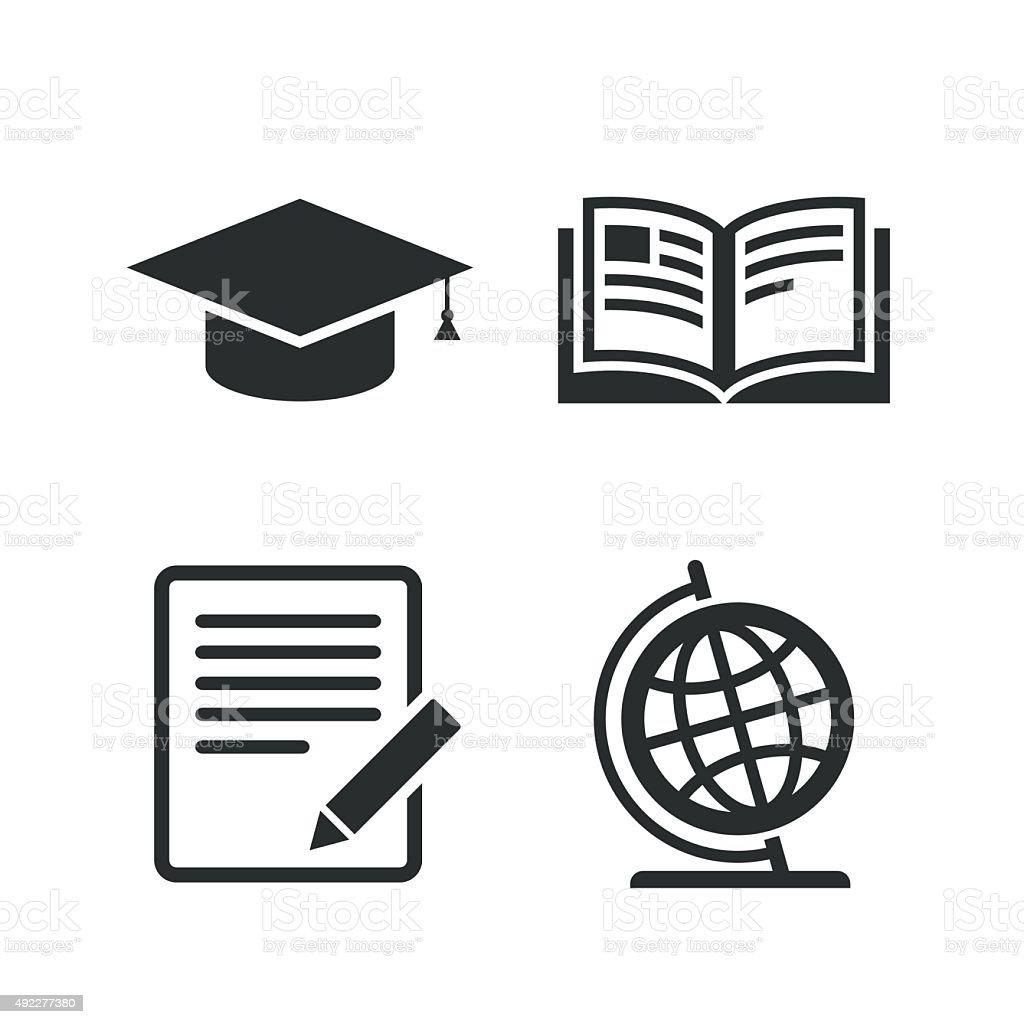ペンシルとオープンブックの表示に従います 卒業式キャップアイコン