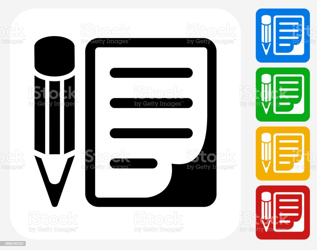 Pencil and Paper Icon Flat Graphic Design vector art illustration