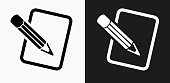Pencil and Paper Icon on Black and White Vector Backgrounds
