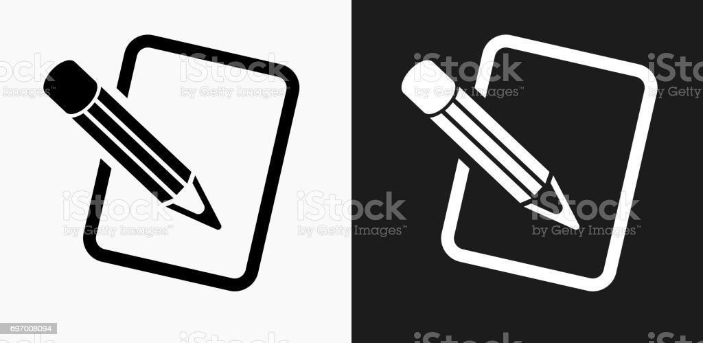 Pencil and Paper Icon on Black and White Vector Backgrounds vector art illustration