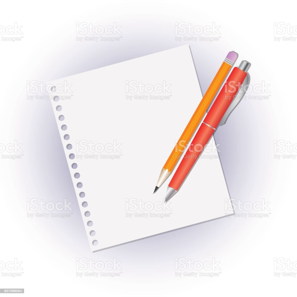Pencil and pen on a blank sheet of notebook. vector art illustration