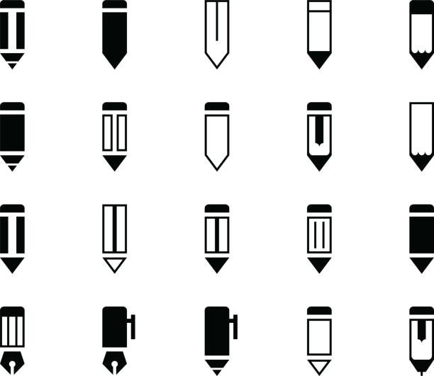 Pencil and Pen Various Icons vector art illustration