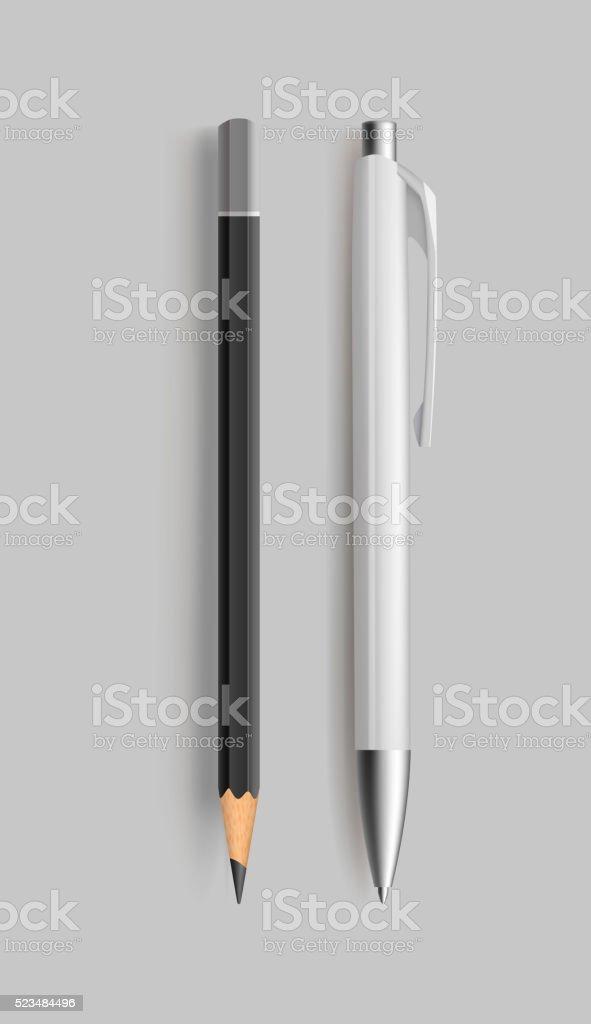 Pencil and pen. vector art illustration