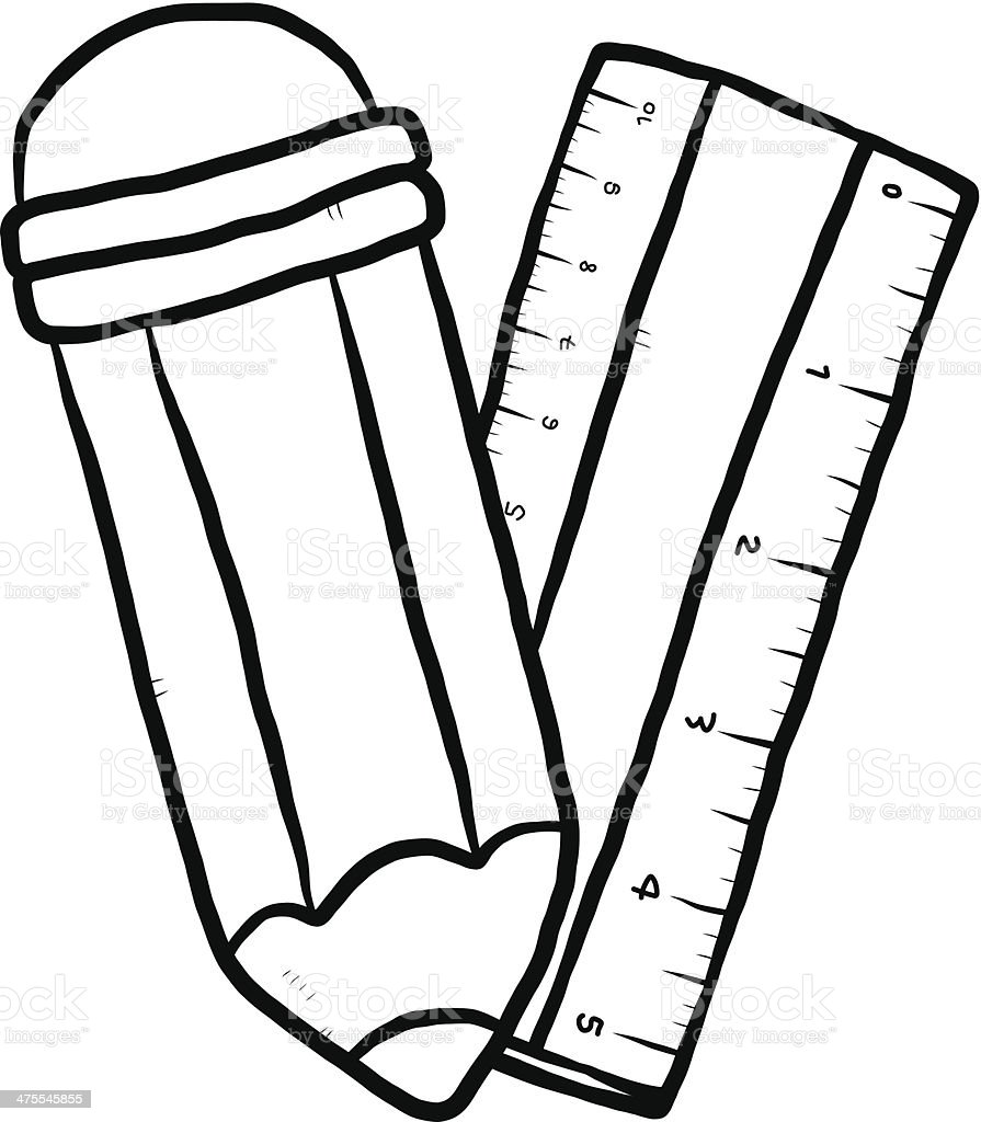 pencil and ruler cartoon stock vector art  u0026 more images of