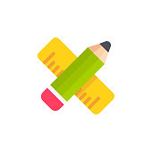 Pencil and Ruler Flat Icon. Pixel Perfect. For Mobile and Web.