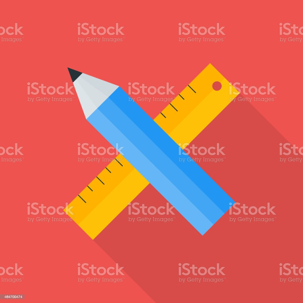 Pencil and ruler flat stylized vector art illustration