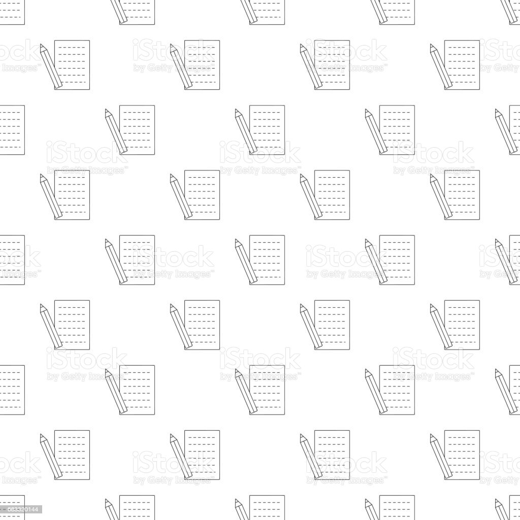 Pencil and sheet pattern seamless pencil and sheet pattern seamless - stockowe grafiki wektorowe i więcej obrazów efekt faktury royalty-free