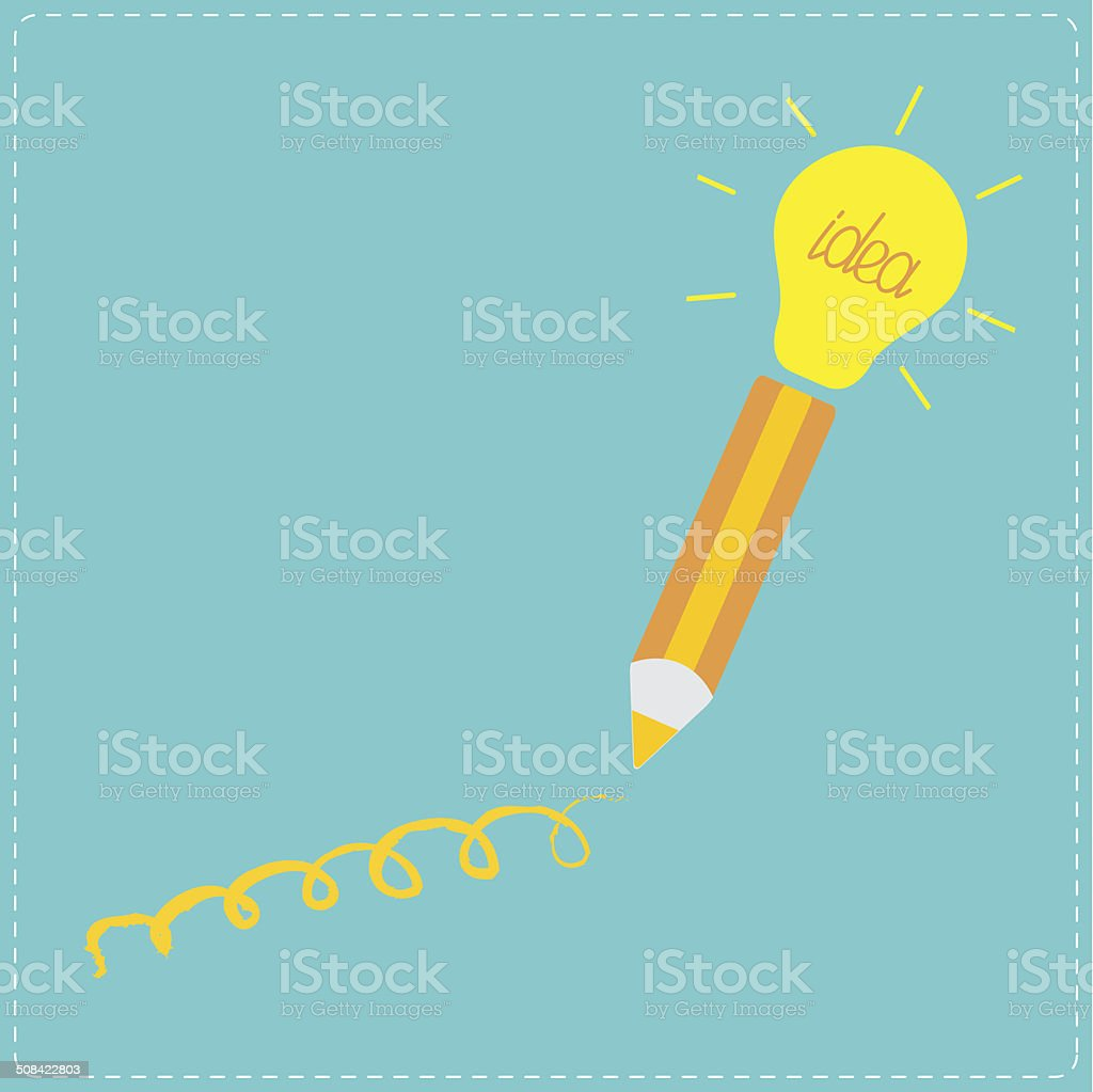 Pencil and shining light bulb Business idea concept. vector art illustration