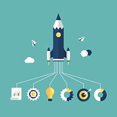 istock Pencil as a rocket ship with images coming out from bottom 468495508