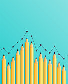 Pencils to Visualize Bar Chart on Turquoise Background.