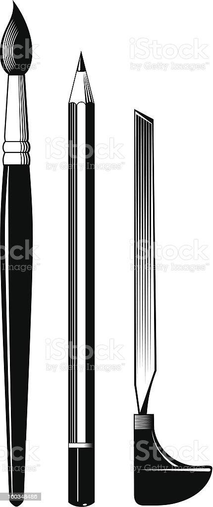 Pencil brush burin vector art illustration