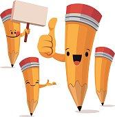 Cartoon pencil set including: