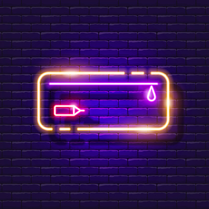 Pencil case neon sign. Stationery bag glowing icon. Vector illustration for design. School concept.