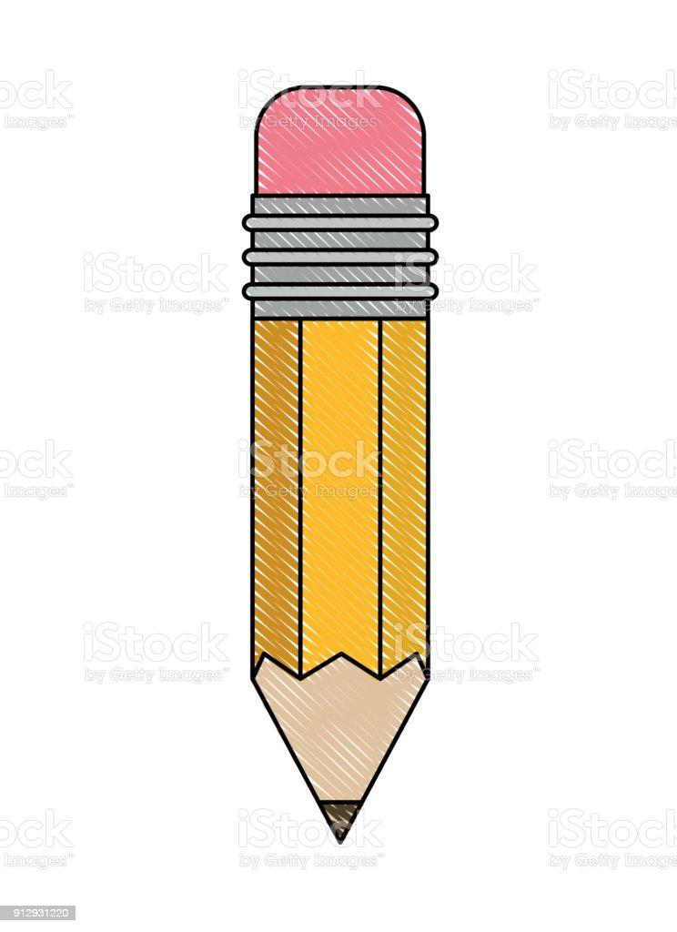 Ilustración de Herramienta De Diseño De Lápiz En Silueta De Color ...