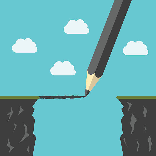 Pencil drawing a bridge Pencil drawing a bridge above abyss between cliffs. Conquering adversity, business success, bridging the gap concept. EPS 8 vector illustration, no transparency ravine stock illustrations