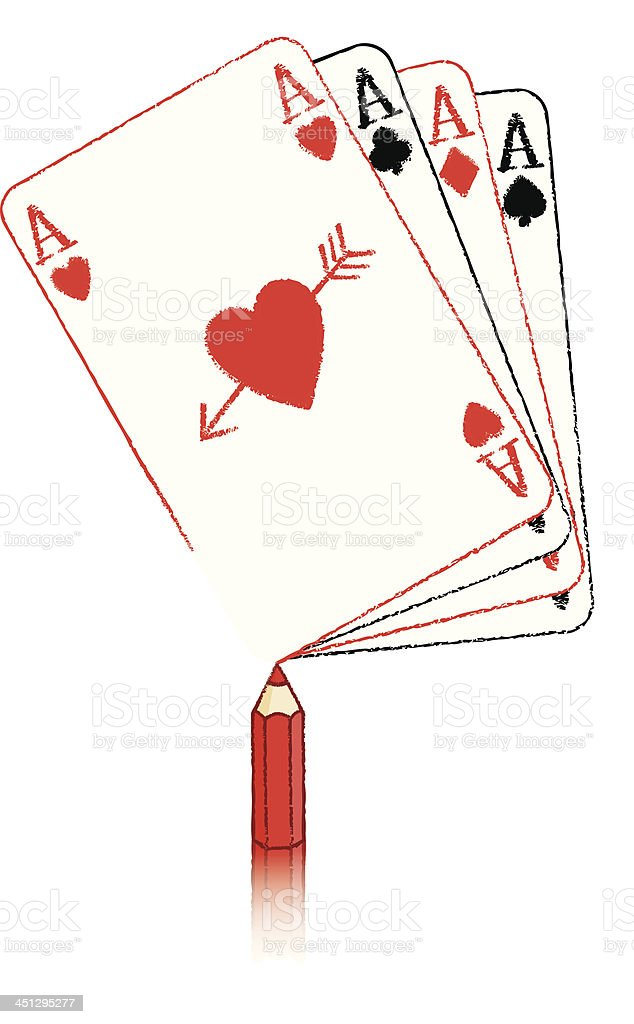 Pencil Drawing Ace of Hearts fanned cards with Cupid's Arrow royalty-free pencil drawing ace of hearts fanned cards with cupids arrow stock vector art & more images of ace