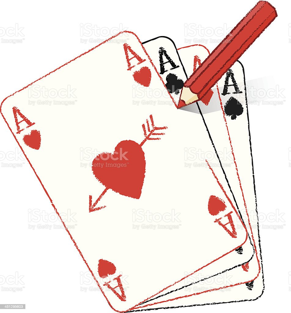 Pencil Drawing Ace of Hearts on fanned cards with arrow royalty-free stock vector art
