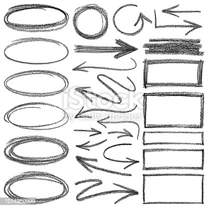 istock Pencil drawing. Arrows and different shapes. 1214950999