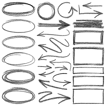 Set of vector arrows and different shapes. Pencil drawing design elements.