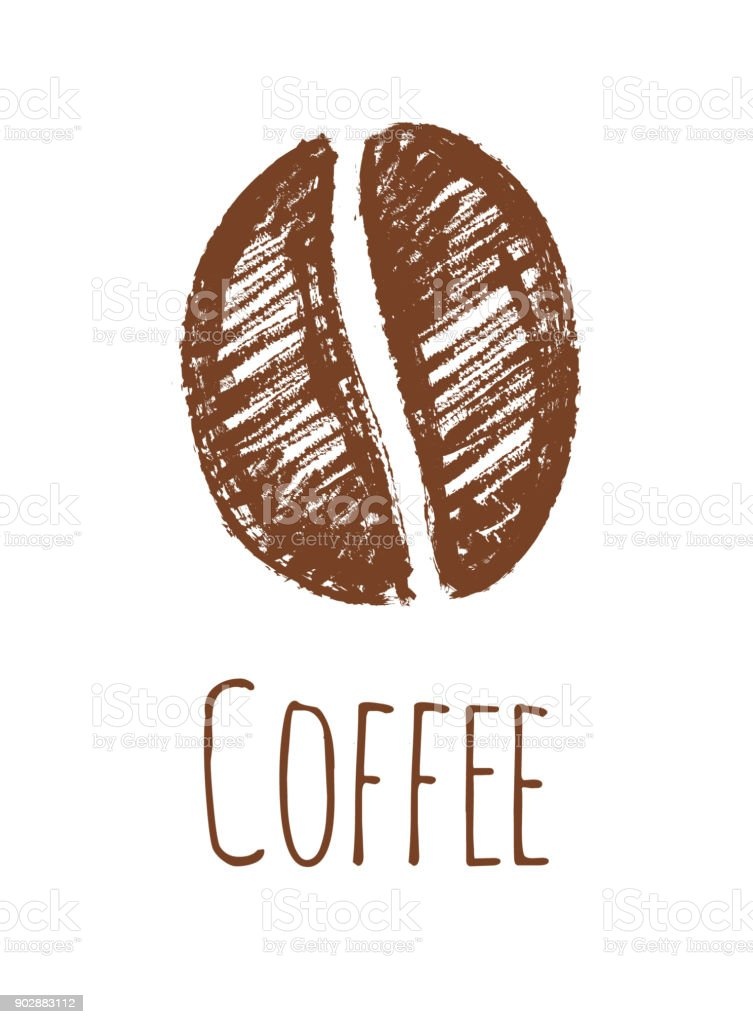 Vetores De Lapis De Desenho De Um Grao De Cafe E Mais Imagens De