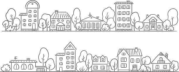street - 都市 モノクロ点のイラスト素材/クリップアート素材/マンガ素材/アイコン素材