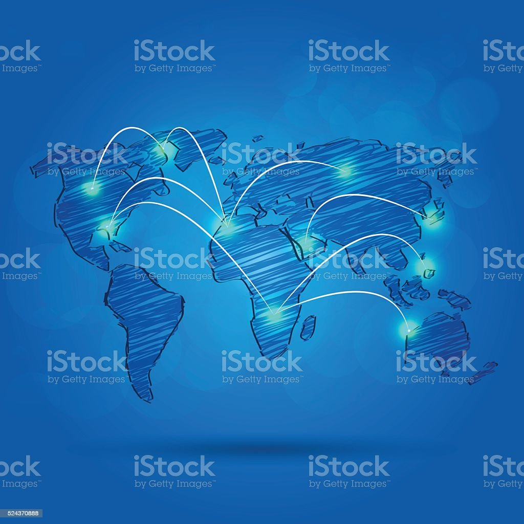 Pencil drawing of a world map with connected cities stock vector pencil drawing of a world map with connected cities royalty free pencil drawing of a gumiabroncs Gallery