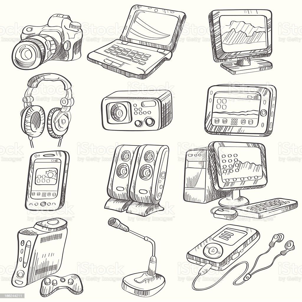 Pencil drawing of electronic gadget royalty-free pencil drawing of electronic gadget stock vector art & more images of arts culture and entertainment