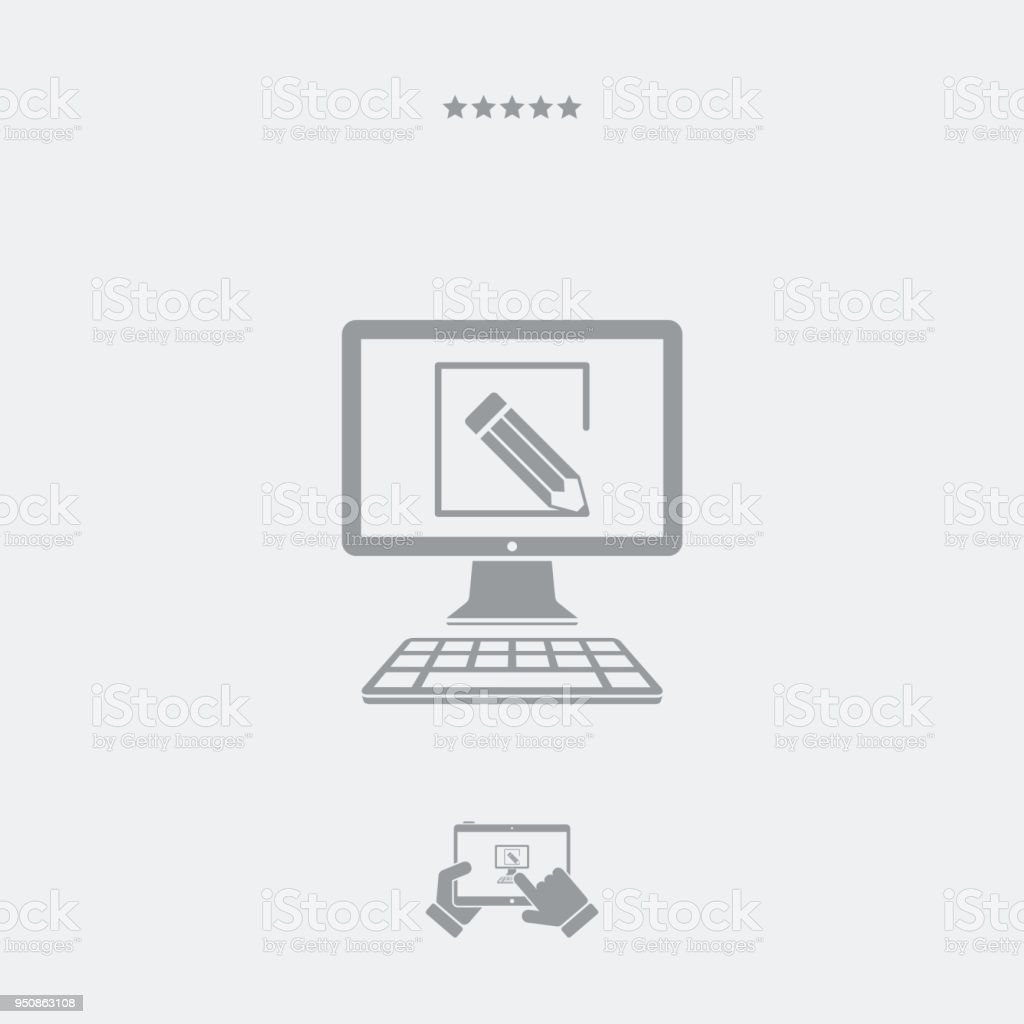 Pencil drawing the inside area of computer screen stock illustration