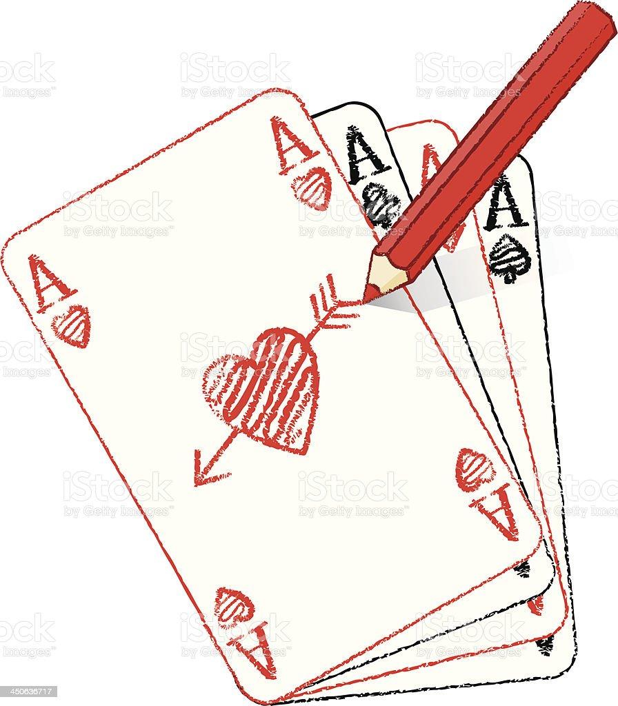 Ilustracion De Dibujo A Lapiz Varios As De Corazones Tarjetas Con