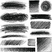 Design elements, soft pencil drawing, set of different variations.