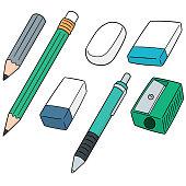 pencil, eraser and pencil sharpener