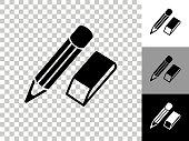 istock Pencil & Eraser Icon on Checkerboard Transparent Background 1242839666