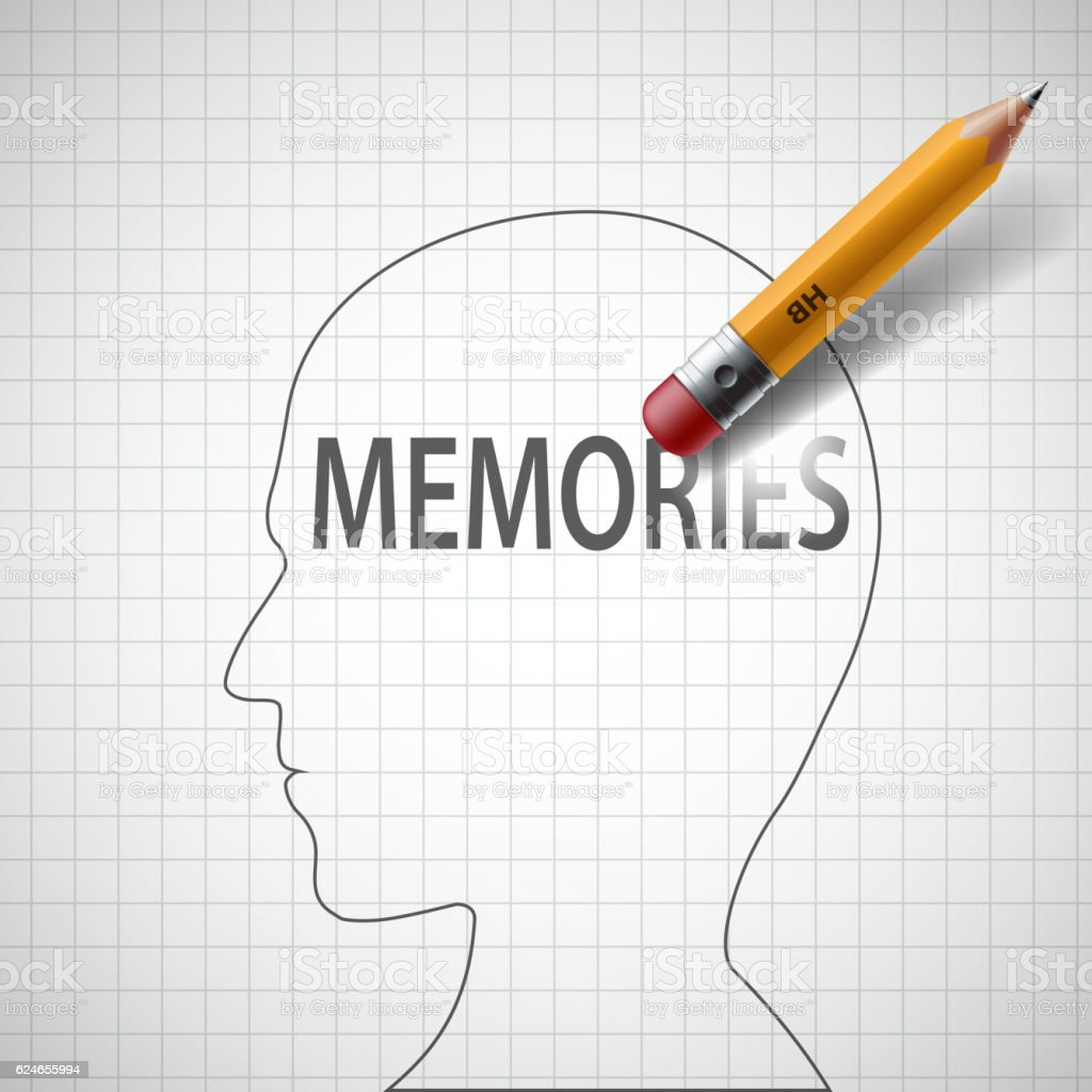 Pencil erases in the human head the word memories. vector art illustration