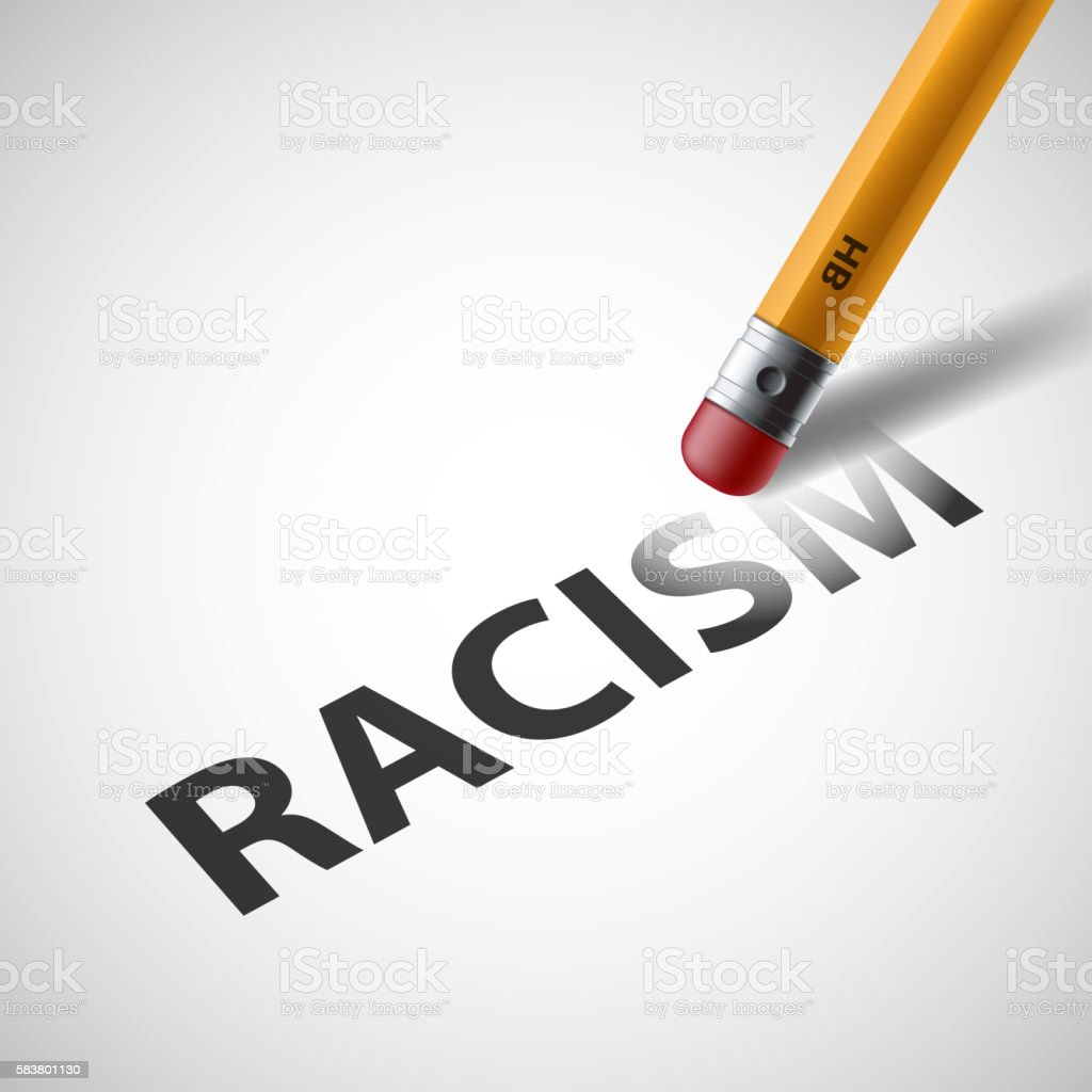 Pencil erases the word racism. Against Discrimination. vector art illustration