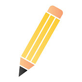 Pencil flat icon. Graphite pencil symbol, gradient style pictogram on white background. School instrument to write and draw sign for mobile concept and web design. Vector graphics