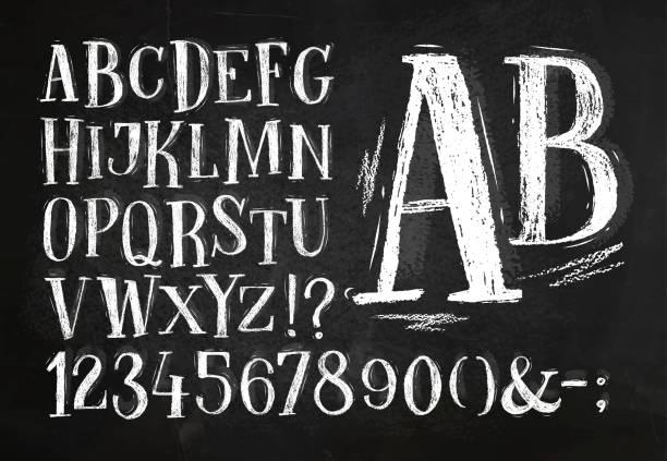 bleistiftschrift alphabetisch - kreide stock-grafiken, -clipart, -cartoons und -symbole