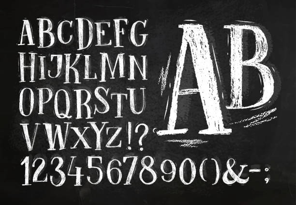 pencil font alphabet - tafelkreide stock-grafiken, -clipart, -cartoons und -symbole