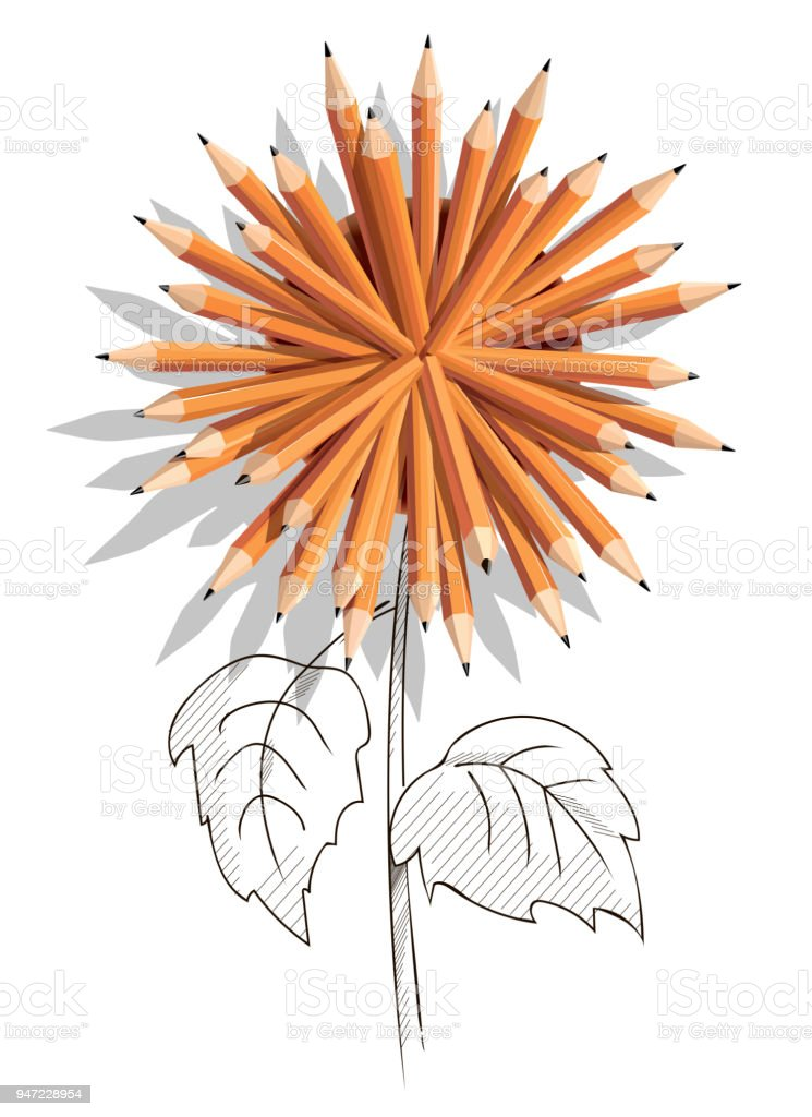 Pencil glass with pencils in a shape of flower vector art illustration