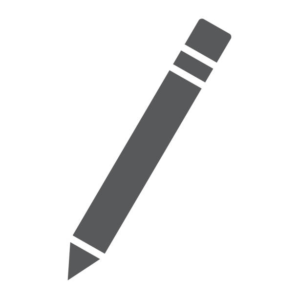 pencil glyph icon, school and education, edit sign vector graphics, a solid pattern on a white background, eps 10. - ołówek stock illustrations