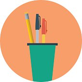 Pencil Holder Colored Vector Illustration