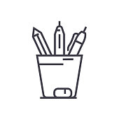 pencil holder vector line icon, sign, illustration on background, editable strokes