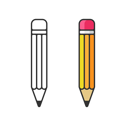Pencil Icon. Eraser Pen Flat and Outline Design and Back to School Concept on White Background.