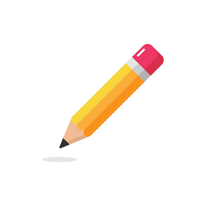 Pencil Icon. Eraser Pen Flat Design and Back to School Concept on White Background.