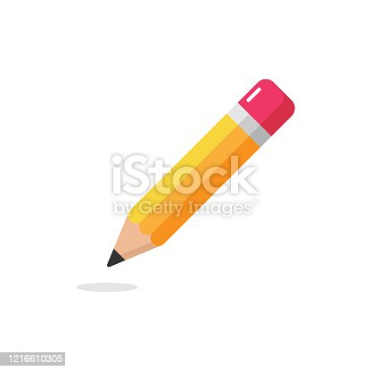 istock Pencil Icon. Eraser Pen Flat Design and Back to School Concept on White Background. 1216610305
