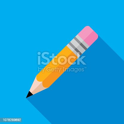 Vector illustration of a pencil against a blue background in flat style.