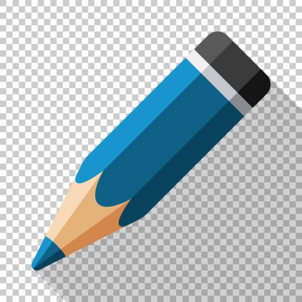 Bleistift-Symbol in einem flachen Stil mit einen langen Schatten auf einem transparenten Hintergrund – Vektorgrafik