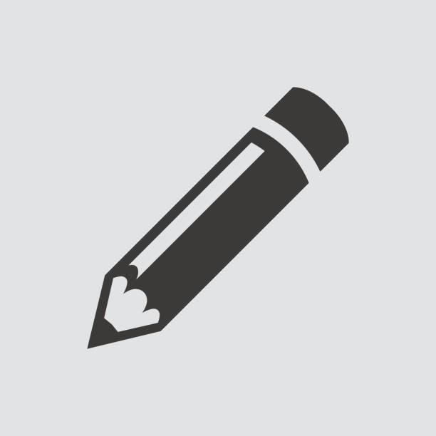 ikona ołówka odizolowana od płaskiego stylu. - pióro przyrząd do pisania stock illustrations