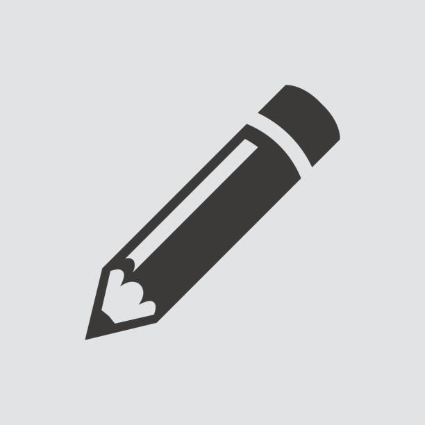 pencil icon isolated of flat style. - ołówek stock illustrations
