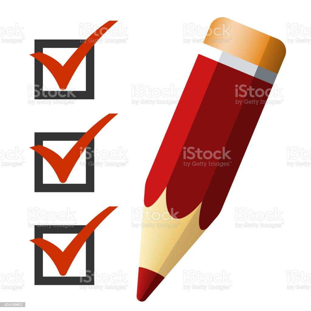 Pencil icon with checklist, vector illustration vector art illustration